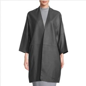 Vince Shell Goat Leather Coat in Iron